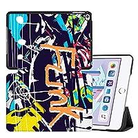 MAITTAO iPad Mini 5ケース2019、Folioスタンドレザースマート保護ケースは、Apple iPad Mini 5th Genカバー/iPad Mini 4 4th Gen 2015の自動スリープ/スリープ解除付きハードバックシェルをカバーします、落書きの壁 16