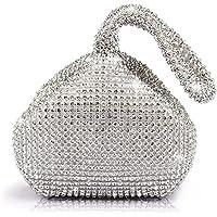 JIAN YA NA Women Ladies' Evening Clutch Bling Glitter Purse Triangle Design Wedding Purse Handbag for Party Prom (Silver)