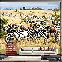 KAHSFA 3Dの壁紙大型カスタム壁紙アフリカのサバンナゼブラ現代のミニマリストのリビングルームテレビの壁のソファの背景