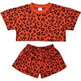 Toddler Baby Girls Leopard Print Summer Clothes Sets Crop Tops T-Shirt and Shorts 2pcs Outfits