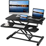 Acetiamin Standing Desk Converter 32 inch Height Adjustable Sit Stand Desk Riser Laptop Stand Large Wide Home Office Desk for