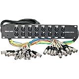 Seismic Audio SARMSS-16x515 Rack Mount 16 Channel XLR TRS Combo Splitter Snake Cable - 5' & 15' XLR trunks