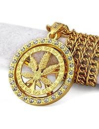 MFYS Jewelry ファッション メンズ アクセサリー ゴールド マリファナ(大麻草) モチーフ 葉柄 パンク系 ロック風 (チェーン付) ペンダント ネックレス【専用ジュエリーBOX付】