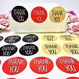 creve Thank you ありがとう 150枚 3cm 円型 ラッピング ラベル ステッカー ギフトシール おしゃれ シンプルフォント 業務用 (黒 赤 クラフト 3色セット)
