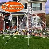 iGeeKid Halloween Giant Spider Web Outdoor Decorations, Halloween Super Stretch Cobweb for Outdoor Yard Lawn Garden Halloween Party Decor