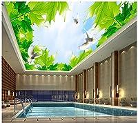 Wapel カスタム 3 d の壁画壁紙ヨーロッパスタイルのメープルの空雲の天井の 3 次元の壁紙、欧州でシンプルなベッドルームのリビングルームのテレビの背景 絹の布 250x175CM