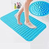 風呂マット 滑り止め バスマット 転倒防止 介護 浴槽用 吸盤つき 排水穴つき 匂いなし 防カビ (サイズ:縦48cm×横78cm)