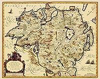 古いアイルランドマップ–Ulster Province–Jansson 1646–23x 29.33 Matte Canvas ITUL0001-4