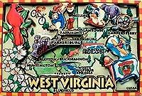 West Virginia Cartoonマップ冷蔵庫マグネット