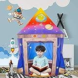 キッズテント 子供用おもちゃハウス 可愛いボールテントハウス Kids Tentロケット型 知育玩具 室内遊具 秘密基地 折り畳み式 簡単に使用 お誕生日 クリスマスのプレゼント おままごと 宇宙船の世界 FOSONN (紺色)
