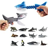 GreenKidz 2PCS Hungry Shark Grabber Toys with 12PCS Small Sea Animal Figures Playset Extending Grabber Claw Game Snapper Pick