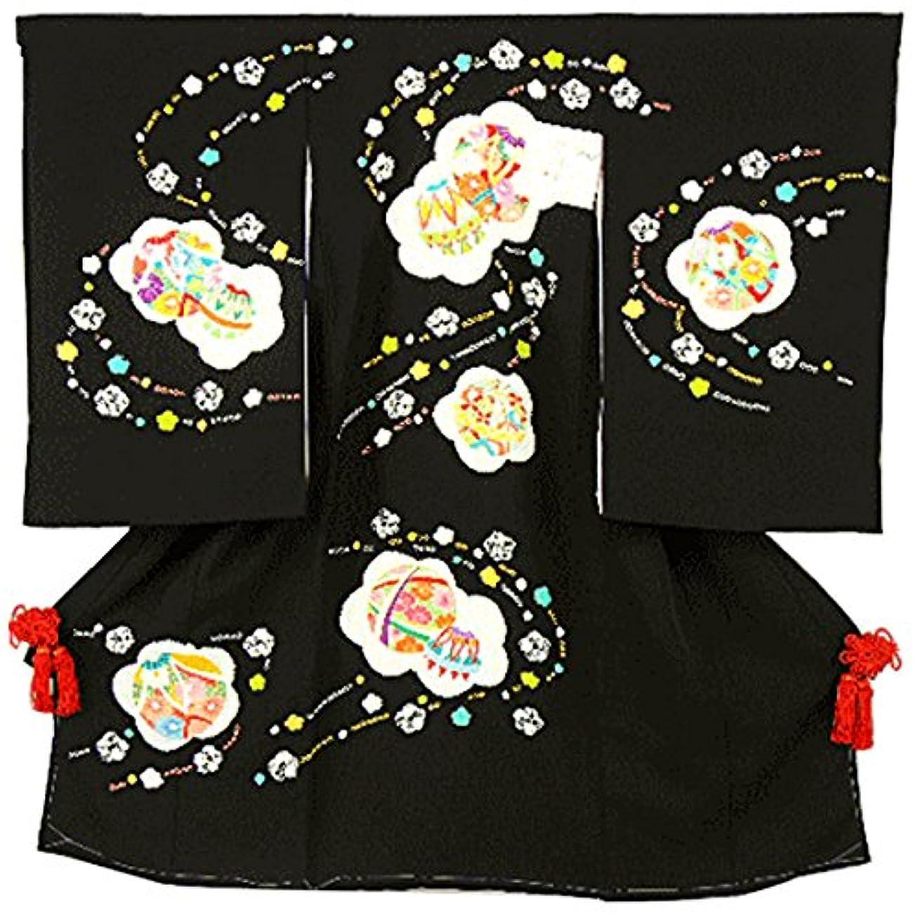 ディスクトレーニング市民権宮参り着物 -34- 熨斗目 女の子用 絞り 黒 花柄