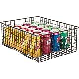 mDesign Farmhouse Decor Metal Wire Food Organizer Storage Bin Baskets with Handles for Kitchen Cabinets, Pantry, Bathroom, La