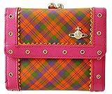 (ヴィヴィアンウエストウッド) Vivienne Westwood タータンチェック 二つ折り がま口 財布 ピンク 日本製