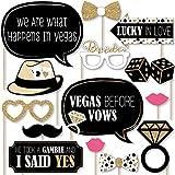 Big Dot of Happiness Vegas Before Vows - ラスベガスブライダルシャワーまたは独身パーティー写真ブース小道具キット - 20個