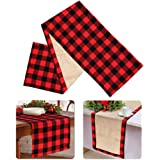 PartyTalk Christmas Table Runner Red Black Cotton Buffalo Check Plaid and Burlap Double Sided Table Runner for Holiday Winter