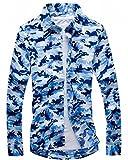 メンズシャツ 若者 カジュアル 余暇用 レジャー スーツ 男性用 上着 迷彩 綿 (青色)