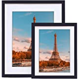 11x14 Picture Frame,Display Pictures 8x10 with Mat or 11x14 Without Mat,Wall Gallery Photo Frames,Black