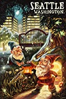 Gnomes in the City – シアトル、ワシントン 24 x 36 Signed Art Print LANT-50475-710