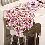 豪華な 咲かせる花の刺繍 カットワーク おしゃれ テーブルランナー 華やかテーブルセンター インテリア 飾り物 ピンク タッセル付き