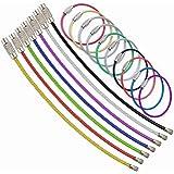 ワイヤーキーホルダー ステンレス製 ワイヤーリング ネジ式 鍵 キー ロックワイヤー 紛失/盗難防止10本 8色組み…
