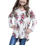 KunLunMen Girls T Shirts Casual Cute Floral Tops Long Sleeve Swing Blouses Fall Clothes