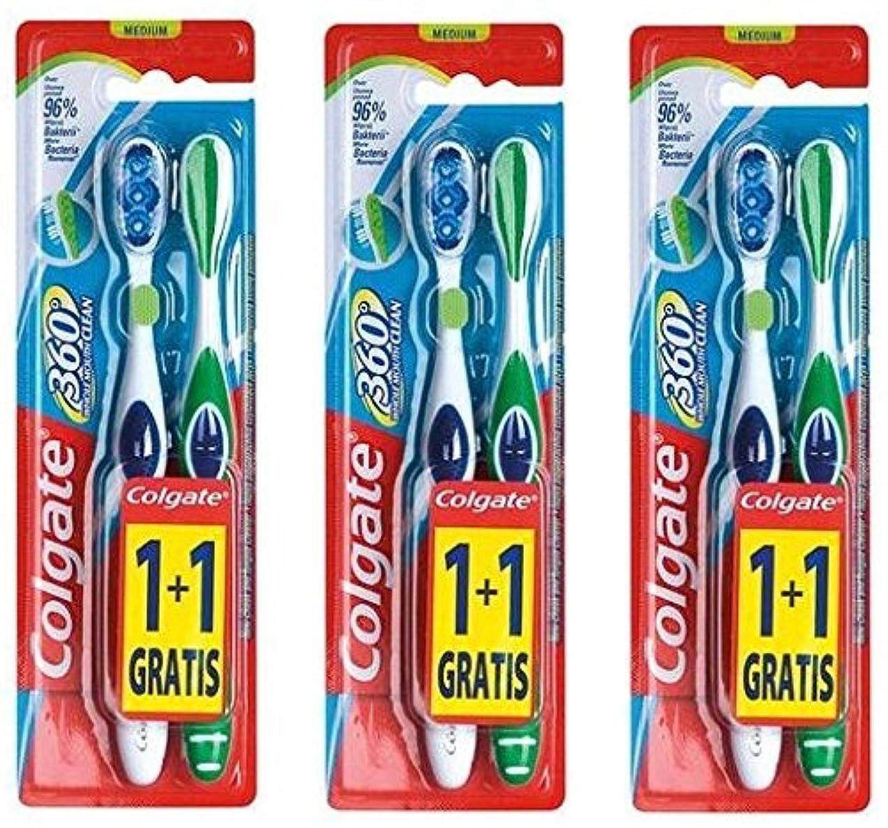 大騒ぎずっと聖域Colgate 360 Whole Mouth Clean コルゲート 歯ブラシ 6個 (2 x 3) [並行輸入品]