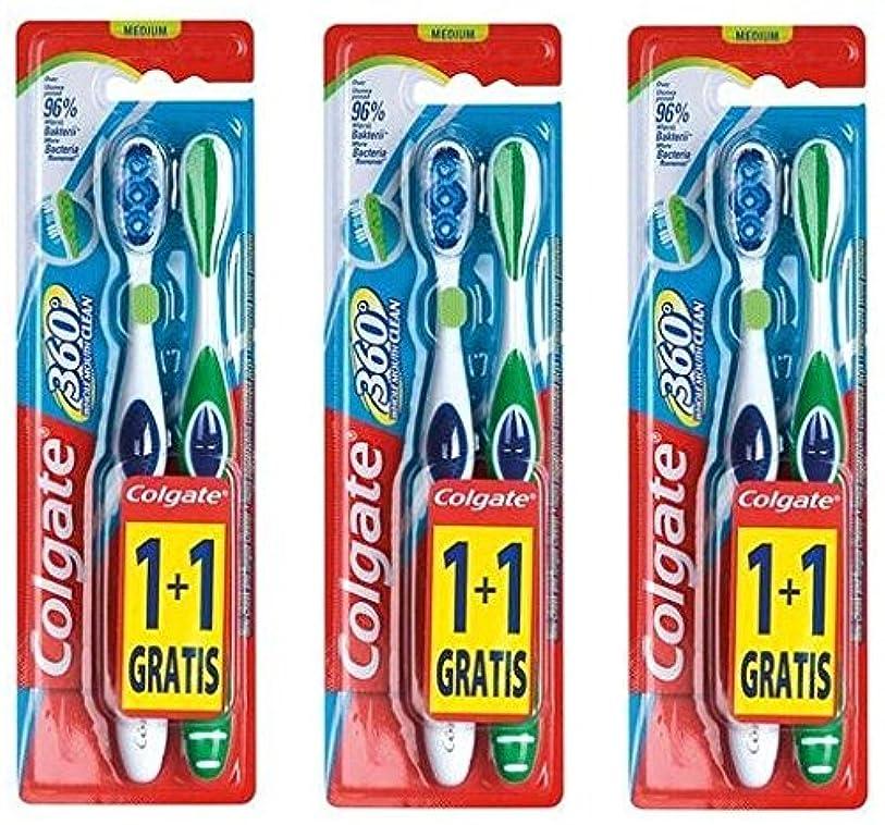 リス定期的な条約Colgate 360 Whole Mouth Clean コルゲート 歯ブラシ 6個 (2 x 3) [並行輸入品]