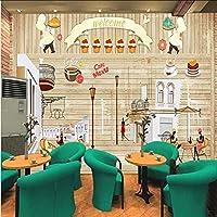 Wuyyii カスタム3 D壁紙ヨーロッパスタイルのノスタルジックなベーキングケーキの背景ウォールベーカリーレストランファーストフード店の壁紙壁画-200X140Cm