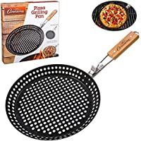 Pizza Grill Pan- Pizza Pan with 100% Non-Stick Surface, Extra High Side Walls and Detachable Handle by Camerons by Camerons Products