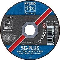 "PFERD 63626フラットカットオフホイール、タイプ1、酸化アルミニウムA、直径5""x 3/32""厚さ、7/8""内径、最大12200 RPM(25個入り)"