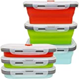 CARTINTS 500ml Collapsible Food Storage Containers Collapsible Silicone Bowls, Silicone Lunch Containers with Airtight Lids,