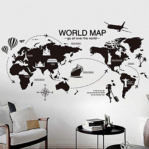 KCOR(クコル)ウォールステッカー 北欧 世界地図 世界旅行 飛行機 モノ...