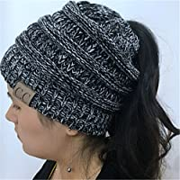 Heyuni. Women BeanieTail Soft Stretch Cable Knit Messy High Bun Ponytail Beanie Hat