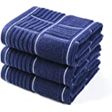 Anyi Kitchen Dish Towels Heavy Duty Absorbent Dish Clothes with Hanging Loop 100% Cotton Tea Bar Towels (16x26, Set of 3, Nav