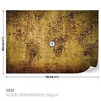 セピア世界マップVintageWall Muralフォト壁紙部屋飾り( 3600ws ) M - 104cm x 70.5cm