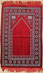【ノーブランド品】イスラムのお客様へのおもてなし トルコ製 ムスリム礼拝用マット(レッド 105cm×68cm)
