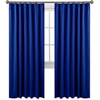 NICETOWN 遮光カーテン 2枚セット ローヤルブルー リビングルーム UVカット 幅100cm丈110cm