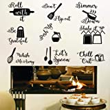 IARTTOP Kitchen Quotes Wall Decal, Roll It Let's Spoon Sticker, Black Cooking Utensils Wall Art for Kitchen Dining Room Fridg