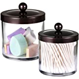 Premium Quality Plastic Apothecary Jars - Qtip Holder Bathroom Vanity Countertop Storage Organizer Canister Clear Acrylic for