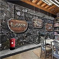 Xueshao カスタム壁画壁画スナックバーコーヒーハウスキッチンレトロノスタルジアオートバイバー背景絵画壁紙壁画-350X250Cm