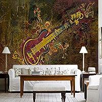Mbwlkj 写真の壁紙3D絵画楽器音楽ホールKtvバーのソファ茶室図書館博物館ギター壁紙壁画-350cmx245cm