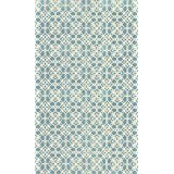 RUGGABLE Washable Indoor/Outdoor Stain Resistant Area Rug 2pc Set (Cover and Pad) Floral Tiles Aqua Blue (91 x 152cm)