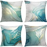 GALMAXS7 Marble Texture Turquoise and Gold Silver Decorative Throw Pillow Covers Luxury Abstract Fluid Art Ink Soft Velvet Pi