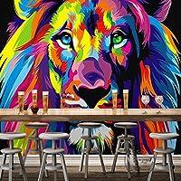 Yosot カラフルなライオンの動物の写真の壁紙の壁画壁画カスタムの横長の家の装飾のウォールペーパー -140 cmx 100 cm