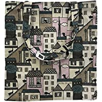 Caixia Women's Cartoon Cat Print Canvas Tote Shopping Bag Beige