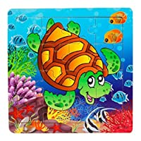 Lavany Wooden Chunky Puzzle, 16 Piece The underwater world Jigsaw Toys For Children Education And Learning Puzzles Toys