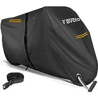 Favoto 改良版 バイクカバー 2.5m防風ベルト付き ワンタッチバックル前後付き 反射ストライプ3枚 UVカット…