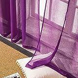 Topfinel レースカーテン 無地 UVカット パープル 幅100x丈130cm 2枚組の写真