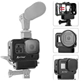 Artman Hero 8 Black Vlogging Case Protective Housing Frame Cage Mount with Microphone Cold Shoe Adapter Compatible with GoPro